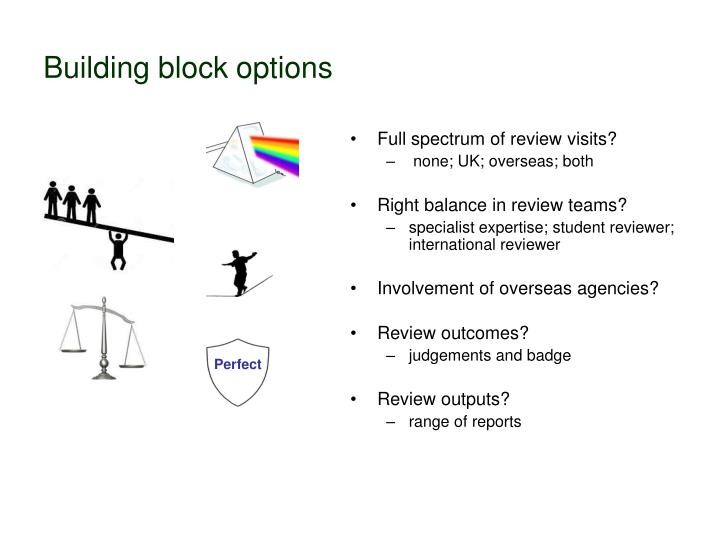 Building block options