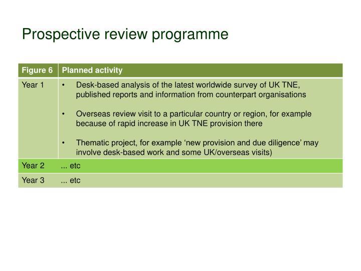 Prospective review programme