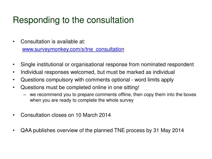 Responding to the consultation
