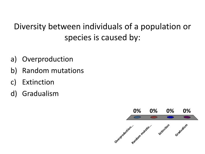 Diversity between individuals of a population or species is caused by:
