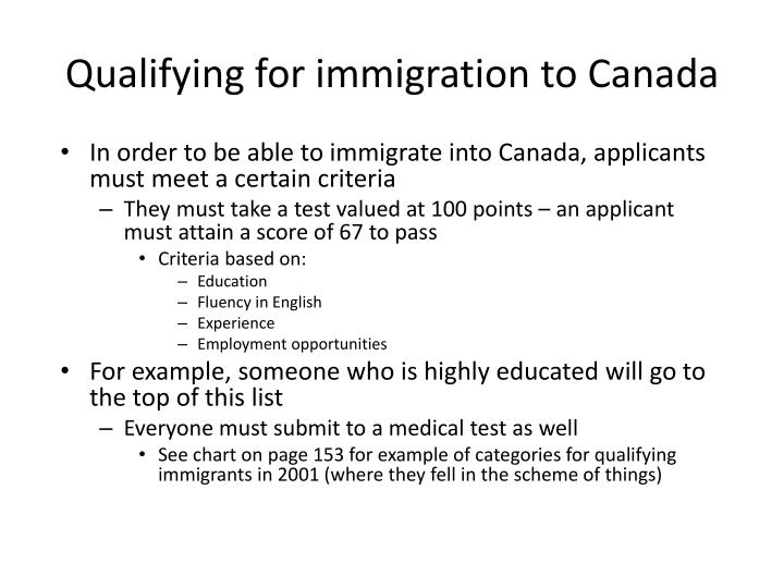 Qualifying for immigration to Canada