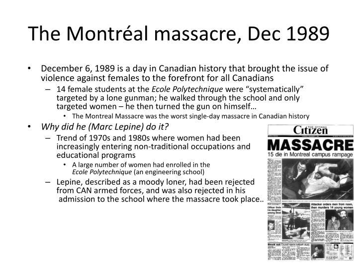 The Montréal massacre, Dec 1989