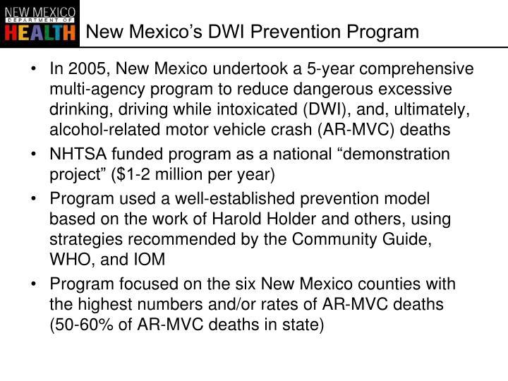 New Mexico's DWI Prevention Program