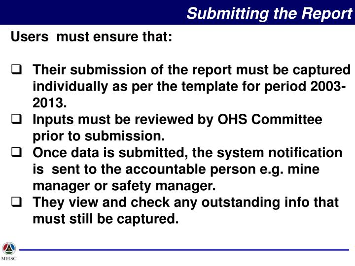 Submitting the Report