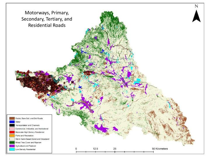 Motorways, Primary, Secondary, Tertiary, and Residential Roads