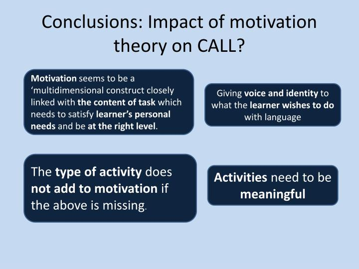 Conclusions: Impact of motivation theory on CALL?