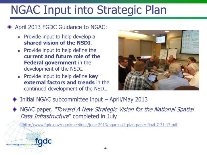 NGAC Input into Strategic Plan