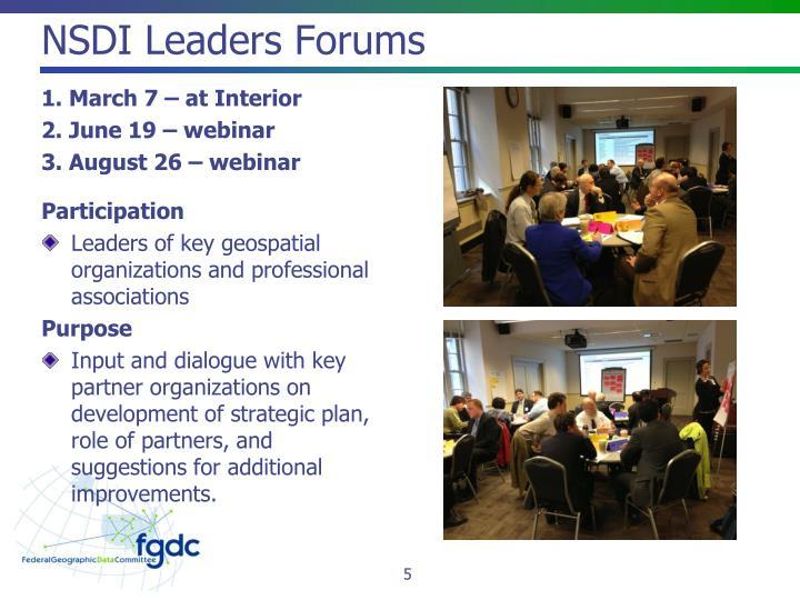 NSDI Leaders Forums