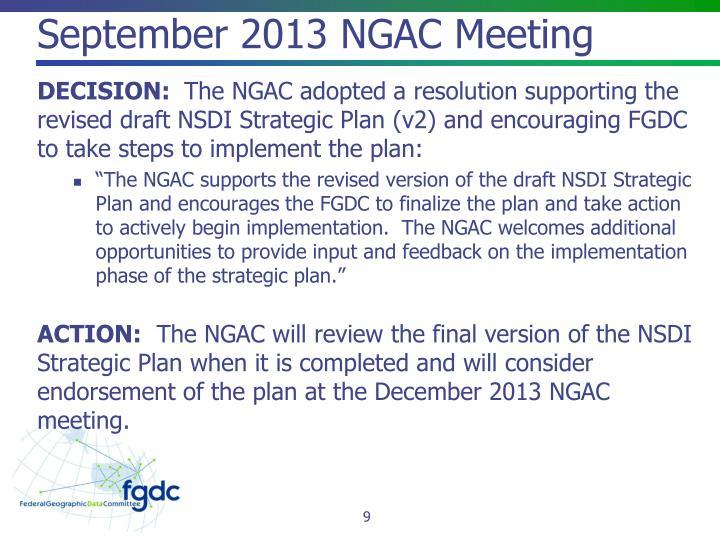 September 2013 NGAC Meeting