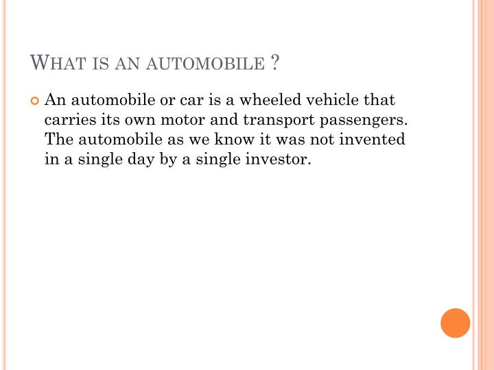 What is an automobile ?