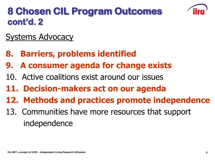 8 Chosen CIL Program Outcomes
