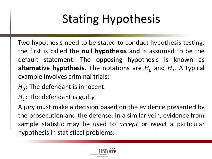 Stating Hypothesis
