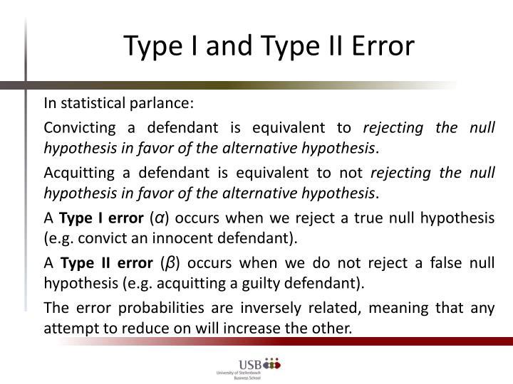 Type I and Type II Error