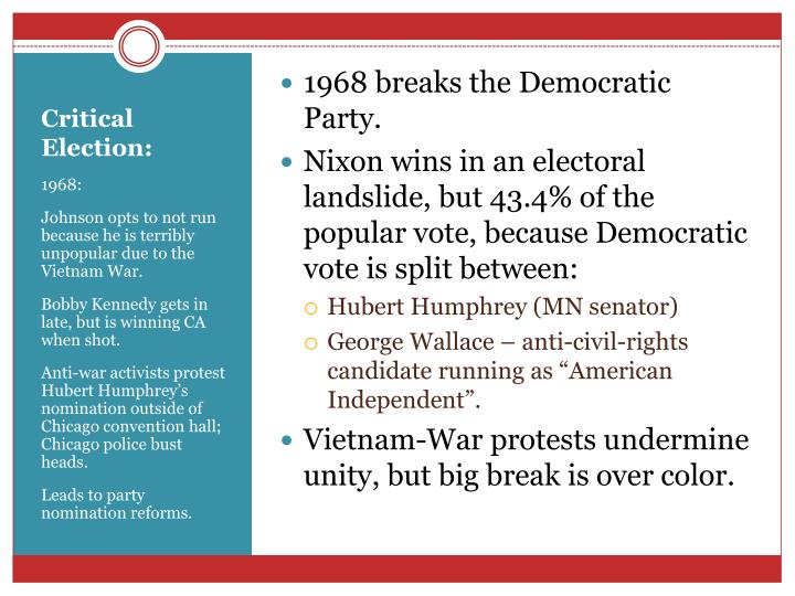 1968 breaks the Democratic Party.