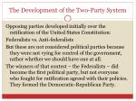 the development of the two party system
