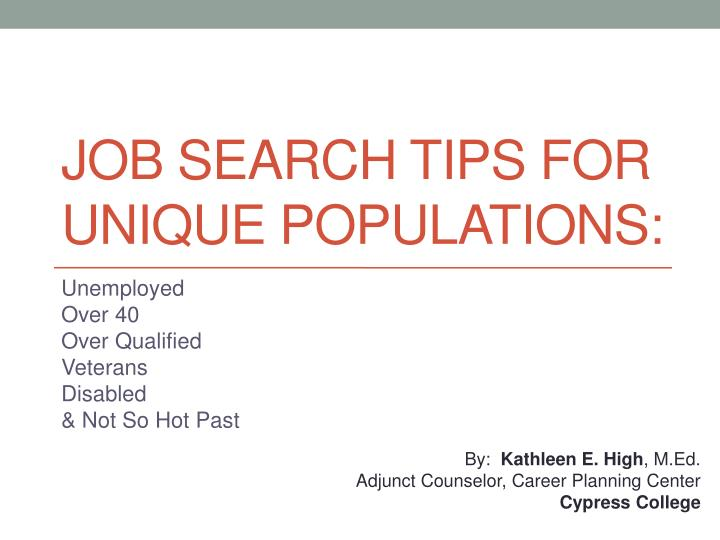 Job search tips for unique populations