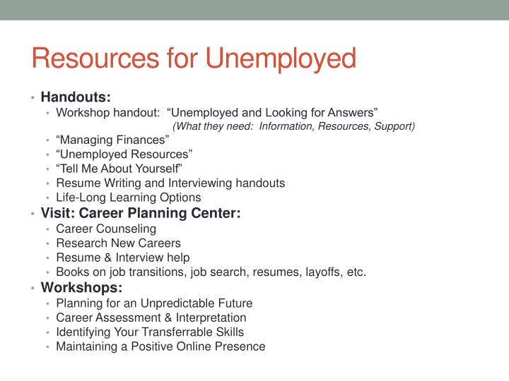 Resources for Unemployed