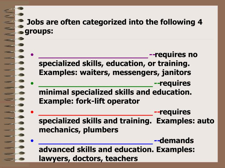 Jobs are often categorized into the following 4 groups: