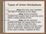 types of union workplaces