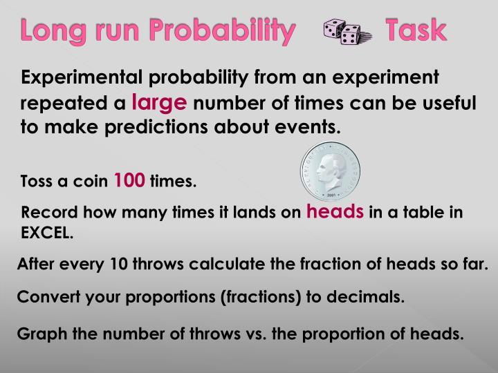 Long run Probability           Task