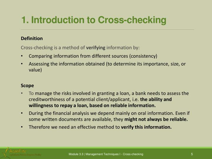 1. Introduction to Cross-checking