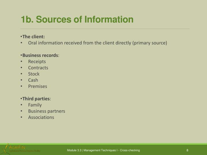 1b. Sources of Information