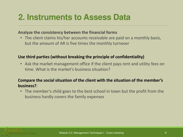 2. Instruments to Assess Data