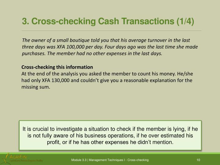 3. Cross-checking Cash