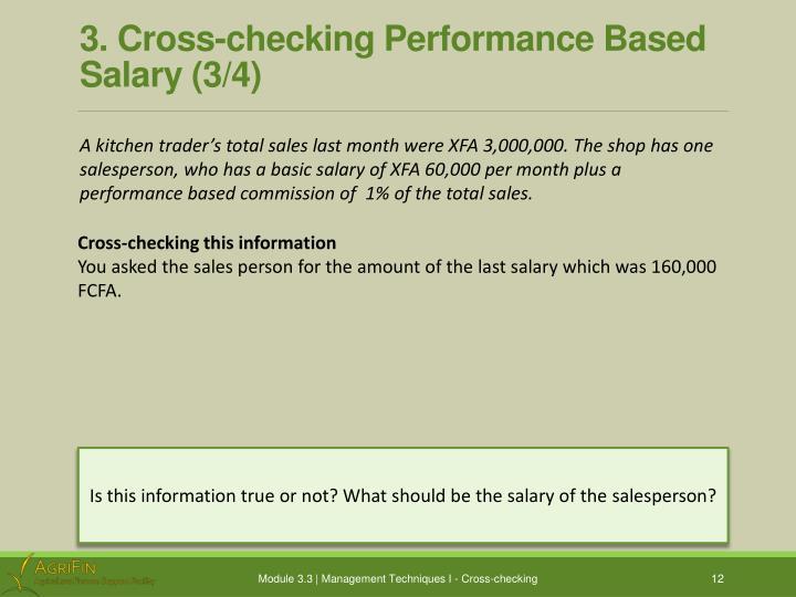 3. Cross-checking Performance