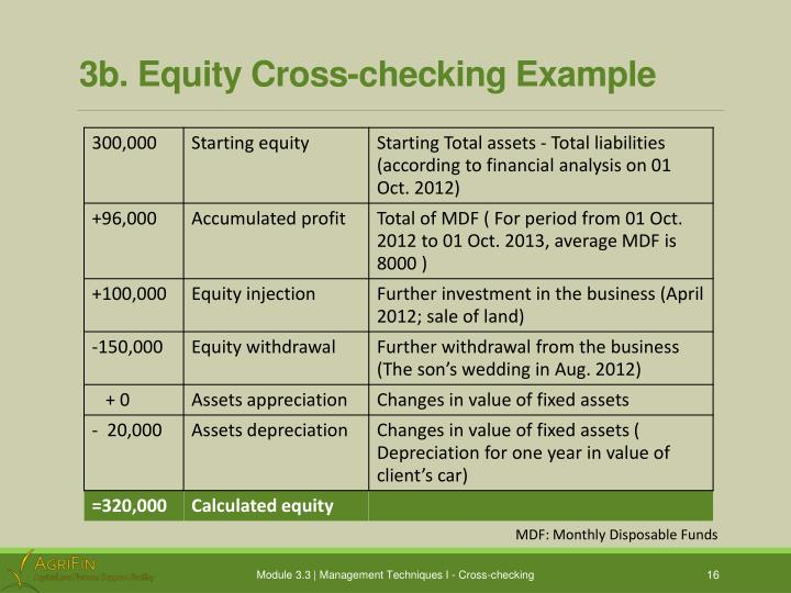 3b. Equity Cross-checking Example