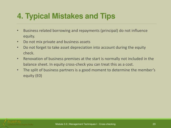 4. Typical Mistakes and Tips
