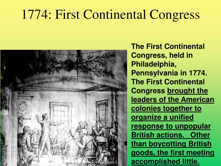 1774: First Continental Congress