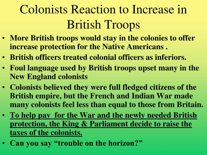 Colonists Reaction to Increase in British Troops