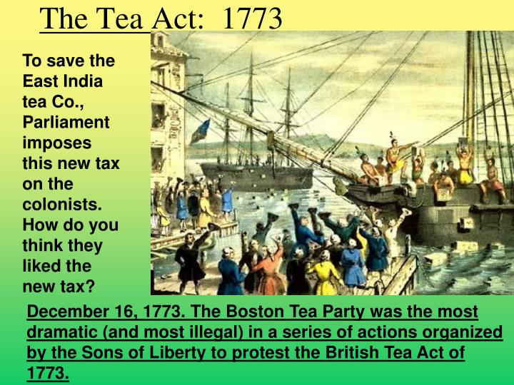 The Tea Act:  1773