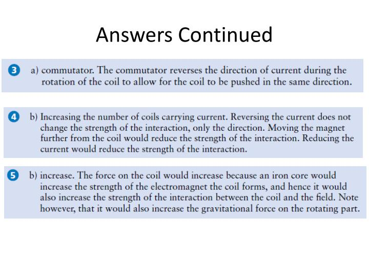 Answers Continued