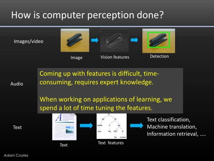 How is computer perception done?