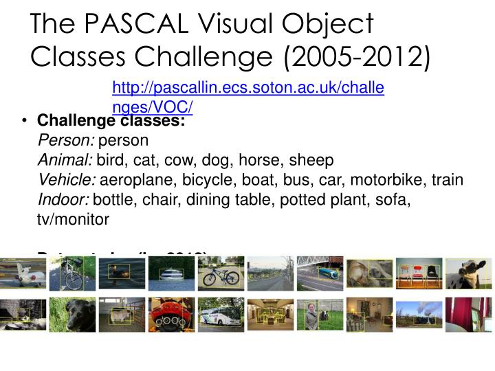 The PASCAL Visual Object Classes Challenge (2005-2012)