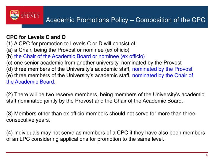 Academic Promotions Policy – Composition of the CPC