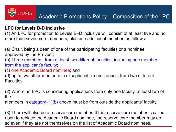 Academic Promotions Policy – Composition of the LPC
