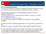 academic promotions policy composition of the lpc