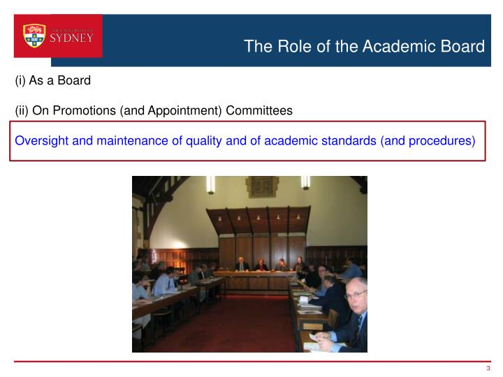 The role of the academic board