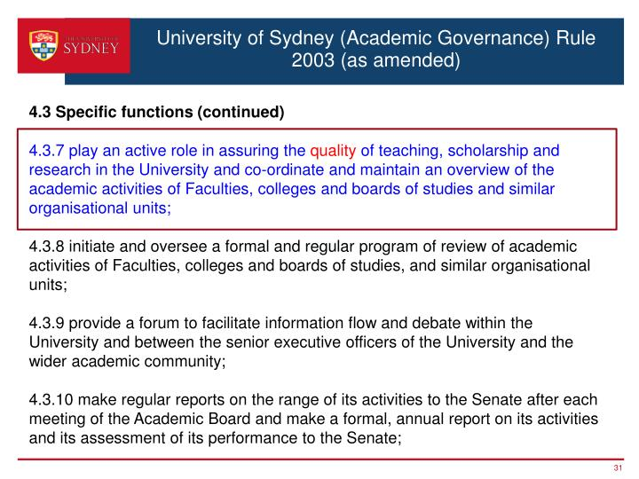 University of Sydney (Academic Governance) Rule 2003 (as amended)