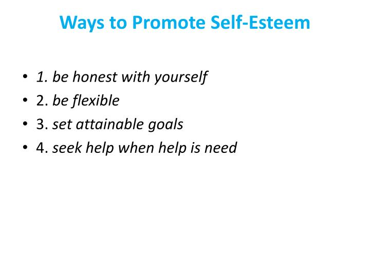 Ways to Promote Self-Esteem