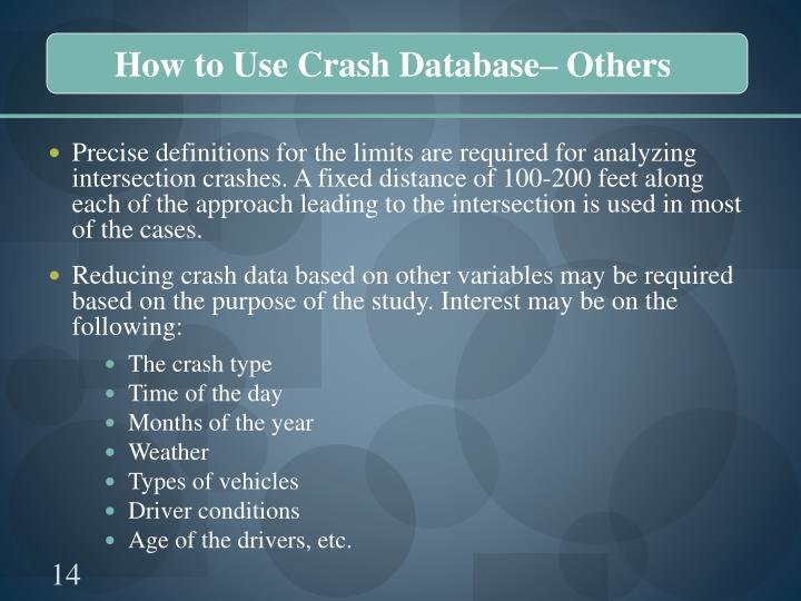 How to Use Crash Database– Others