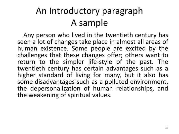 An Introductory paragraph
