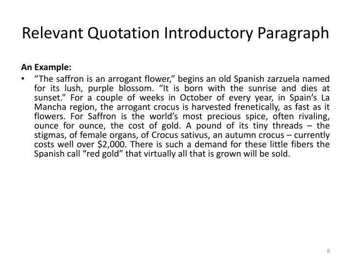 Relevant Quotation Introductory Paragraph