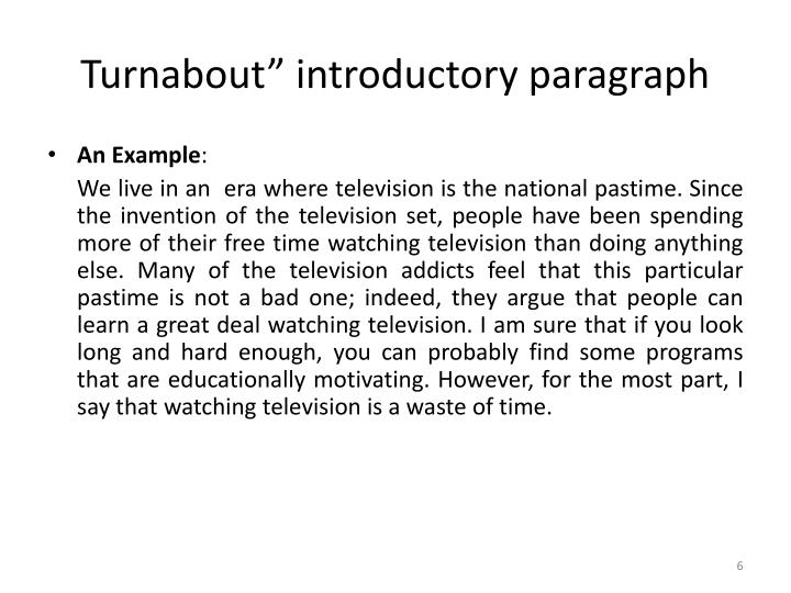 "Turnabout"" introductory paragraph"