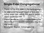 single elder congregational