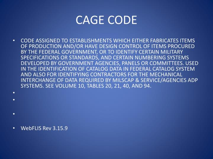 CAGE CODE
