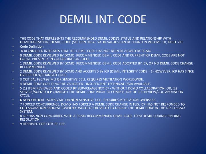 DEMIL INT. CODE